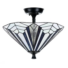 French Art Deco Tiffany Ceiling Lamp Blue