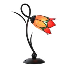 Tiffany Table Lamp Lovely Flower Red Romantic