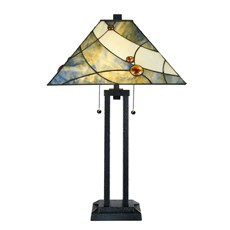 Tiffany Table Lamp Sky Blue with Architect Base