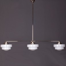 Hanging Lamp 3-Light with Glass Lampshade Semi-Round Stepped Globe